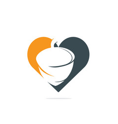 Creative acorn heart shape logo design vector