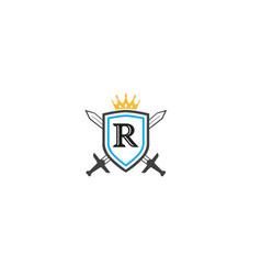 Creative shield letter b swords crown logo design vector