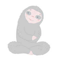 cute cartoon sloth smiling flat vector image