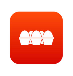 Eggs in carton package icon digital red vector