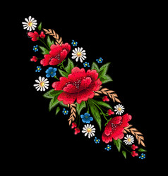Embroidery stitches with flowers fashion vector