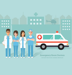 Emergency room doctors and nurse vector
