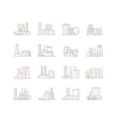 factory symbols industrial city smoke pipe energy vector image