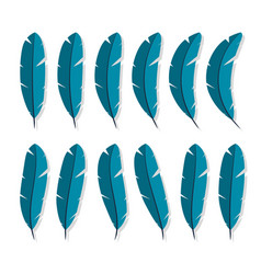 feathers collection icon flat characters in the vector image