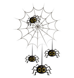 Four black cute cartoon spiders in a spiderweb on vector