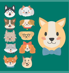 funny cartoon dog character heads bread cartoon vector image