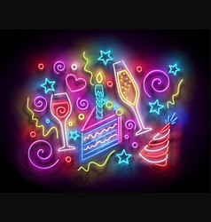 Glow piece cake with candle confetti vector