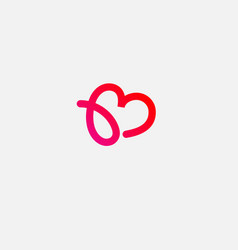 Gradient linear logo letter b and heart for web vector