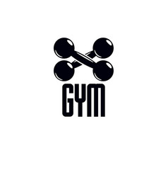 gym and fitness logo template vintage style vector image