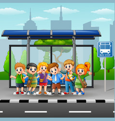 happy children in a bus sto vector image