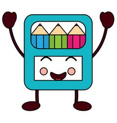 Happy colored pencils box school supplies kawaii vector