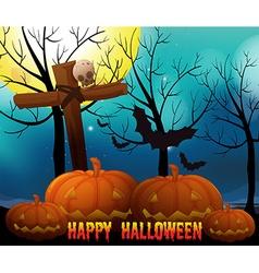 Happy halloween on fullmoon night vector image