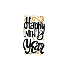 Happy new year 2017 gold lettering text Handmade vector image