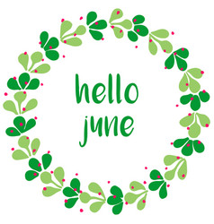 Hello june watercolor wreath card isolated vector