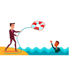 help a colleague businessman throws lifebuoy to vector image