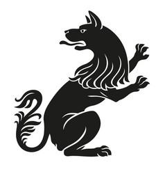 heraldic pet dog or wolf animal rampant vector image