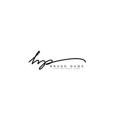 Hp initial letter logo - handwritten signature log vector