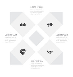 icon job set of loudspeaker handshake friendship vector image