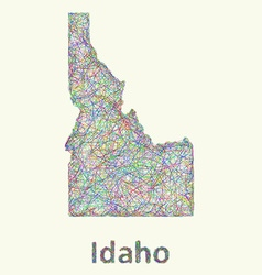Idaho line art map vector