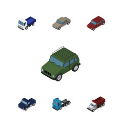 isometric car set of lorry car truck and other vector image