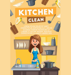 Kitchen cleaning card of housewife doing housework vector