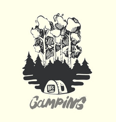 landscape forest fire and tent camping vector image