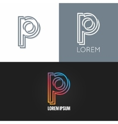 letter P logo alphabet design icon set background vector image