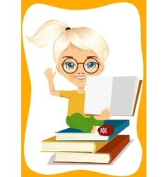 Little girl showing an open book vector