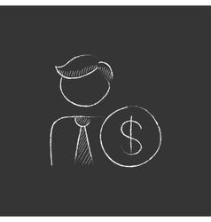 Man with dollar sign Drawn in chalk icon vector