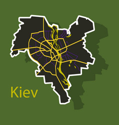 Map of the districts of kiev ukraine sticker vector