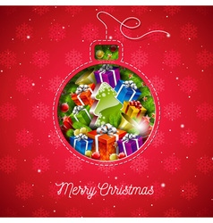 Merry Christmas design with sewing glass ball vector image