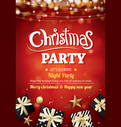 Merry christmas party light and gift box for vector