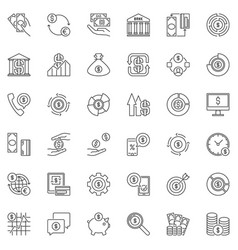 money outline icons set dollar concept vector image