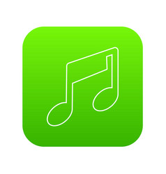 Music note icon green vector
