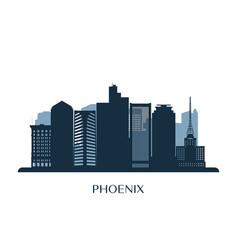 Phoenix skyline monochrome silhouette vector