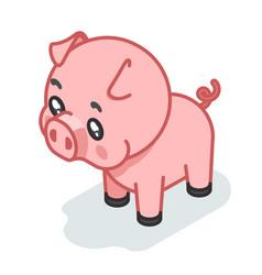 pig cub isometric 3d cute swine baanimal vector image