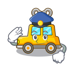 Police character clockwork car for toy children vector