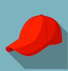 Red baseball cap icon flat style vector
