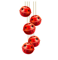 red realistic jingle bells toys handing vector image