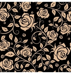 Retro roses floral seamless pattern vector