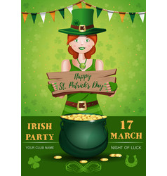 saint patricks day invitation poster design vector image