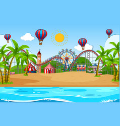 Scene background design with circus on beach vector