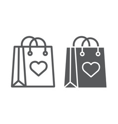 shopping bag with heart line and glyph icon love vector image