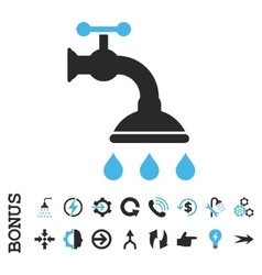 Shower Tap Flat Icon With Bonus vector image