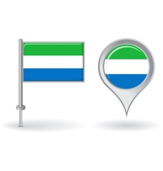 Sierra leone pin icon and map pointer flag vector