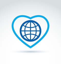 Simple planet icon placed on a heart globe vector