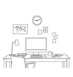 sketch modern home office interior freelancer vector image