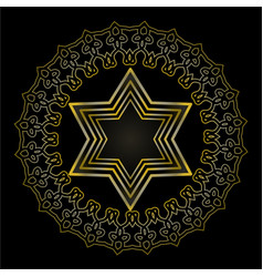 Star of david on black background isolated jewish vector