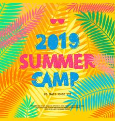 Summer camp 2019 handdrawn lettering on jungle vector