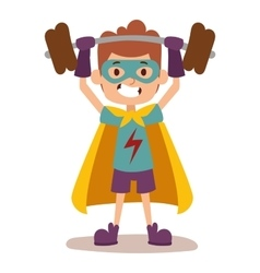 Superhero kid boy cartoon vector image